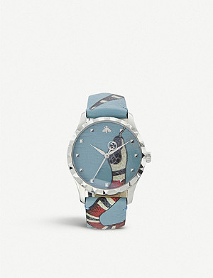 GUCCI YA1264080 G-Timeless leather and stainless steel watch