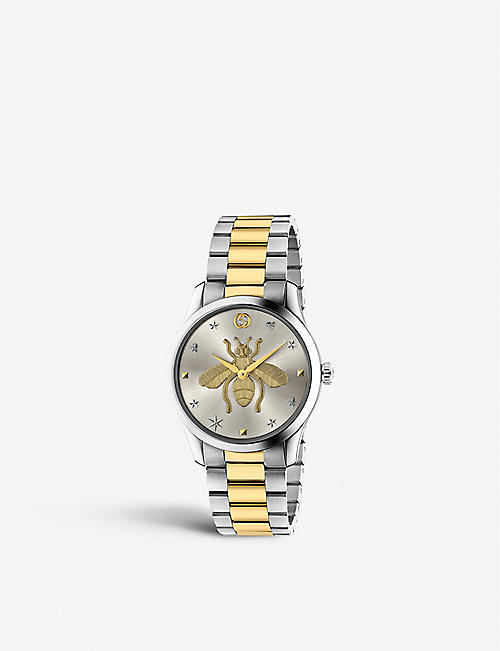 GUCCI: YA1264131 G-Timeless stainless steel and yellow-gold PVD watch