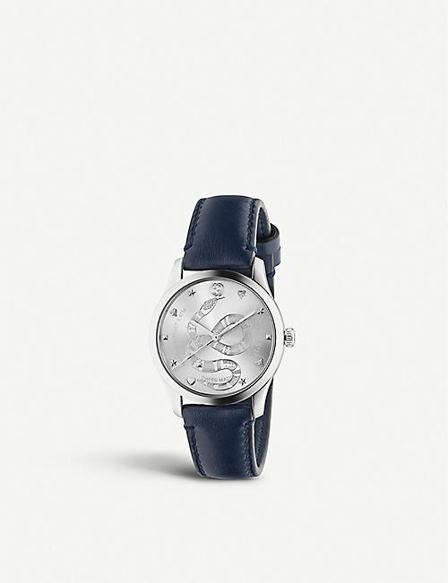 GUCCI: YA1264138 G-Timeless stainless steel and leather watch