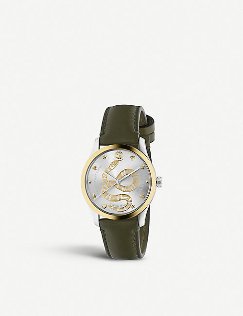 GUCCI: YA1264139 G-Timeless stainless steel and leather watch