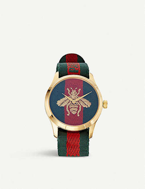 GUCCI: YA126487 Fashion Capsule gold and nylon watch