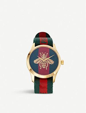 653eb7252da GUCCI YA126487 Fashion Capsule gold and nylon watch