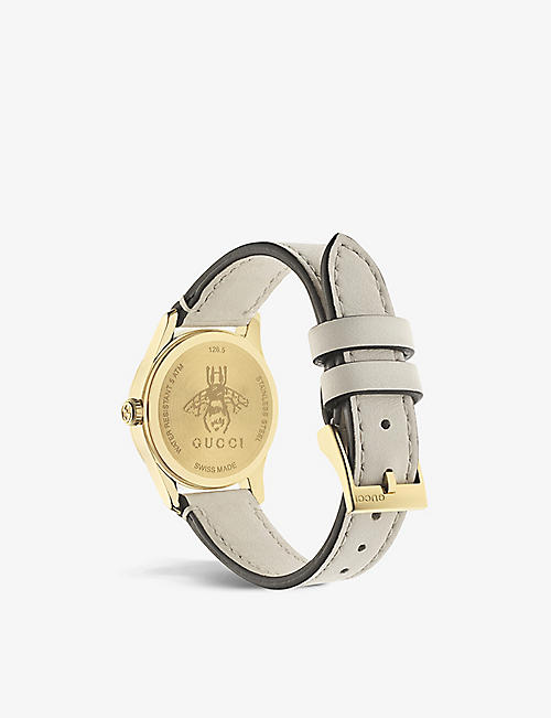GUCCI YA1265009 G-Timeless Contemporary yellow-gold PVD and leather watch