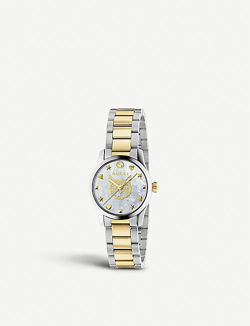 GUCCI: YA1265012 G-Timeless yellow-gold and mother of pearl watch