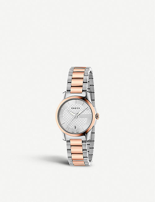 GUCCI YA126528 G-Timeless stainless steel and rose gold-toned watch