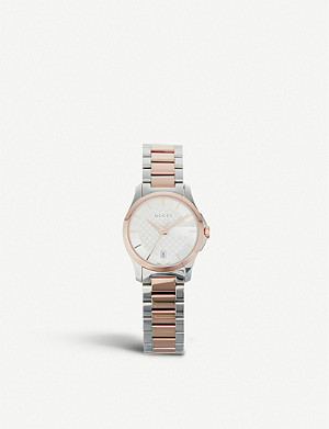 GUCCI YA126564 G-Timeless stainless steel and rose gold-toned watch