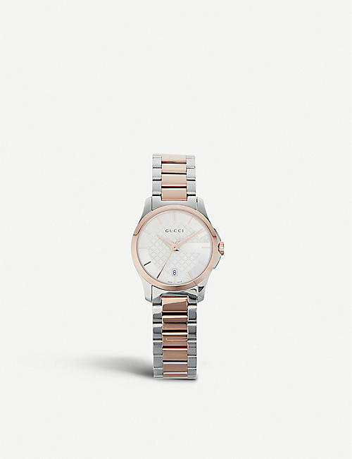 6b2f3e4a977 GUCCI YA126564 G-Timeless stainless steel and rose gold-toned watch