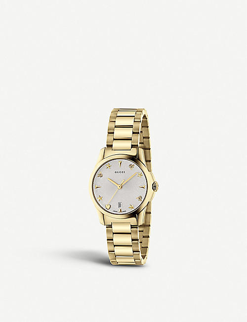 83519099a75 GUCCI YA126576 G-Timeless Collection stainless steel and yellow-gold PVD  watch