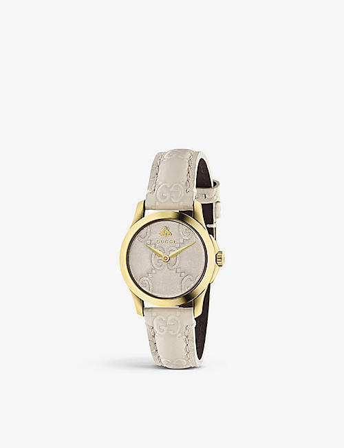 GUCCI: YA126580 G-Timeless Collection yellow-gold PVD and leather watch