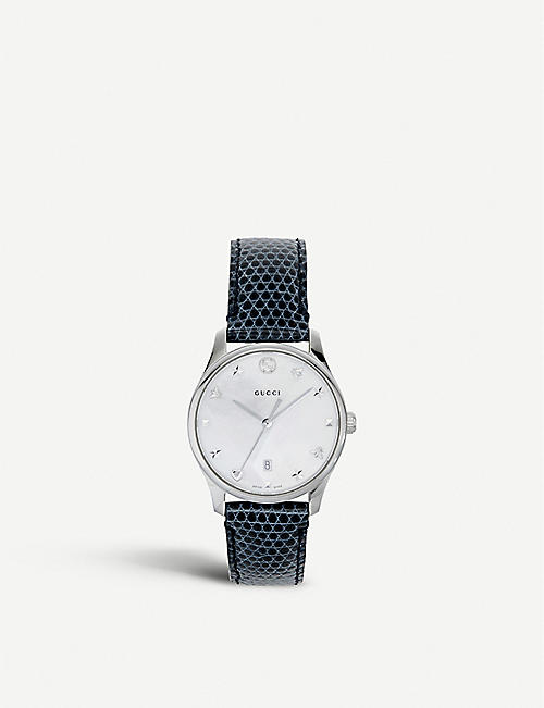 916bd9beaea GUCCI YA126588 G-Timeless mother-of-pearl and lizard-leather strap quartz