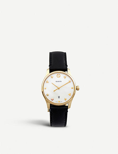 GUCCI YA126589 G-Timeless mother-of-pearl and leather strap quartz watch