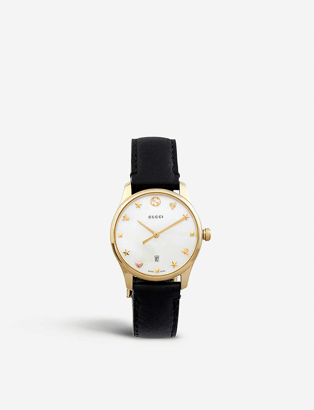 b574e7f5d23 GUCCI - YA126589 G-Timeless mother-of-pearl and leather strap quartz watch
