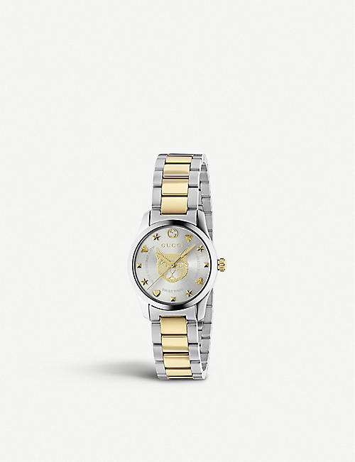 GUCCI: YA1264595 G-Timeless yellow gold-toned and stainless steel watch