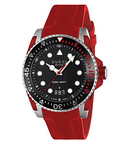 18532b0f003 GUCCI - YA136309 Dive stainless steel and rubber watch