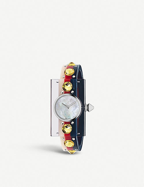 GUCCI YA143524 Vintage Web Mother of Pearl and resin watch