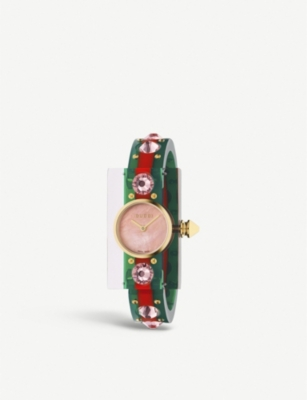 GUCCI YA143525 Vintage Web Mother of Pearl and resin watch