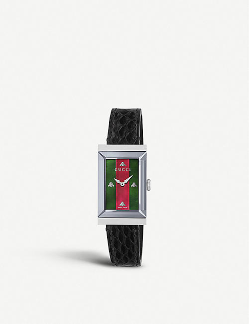 83827a8c832 GUCCI YA147403 G-frame stainless steel and leather strap watch