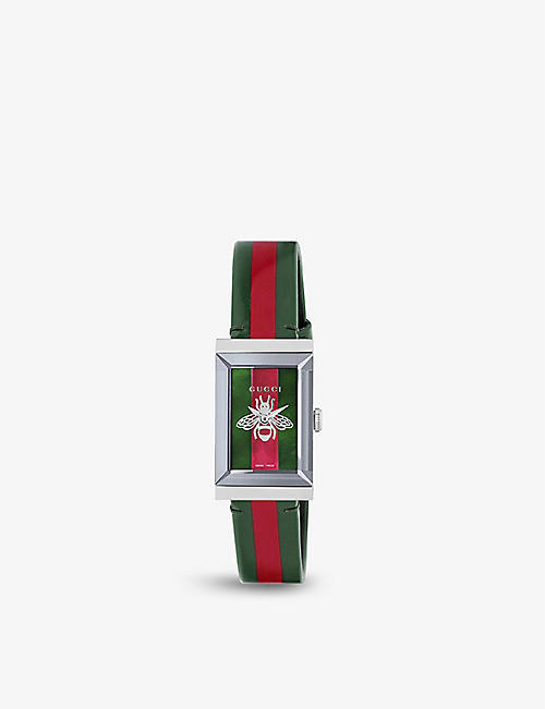 211b5e5f5c2 GUCCI G-frame stainless steel and grosgrain strap watch