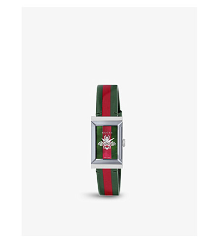 e9da98f2431 GUCCI - G-frame stainless steel and grosgrain strap watch ...