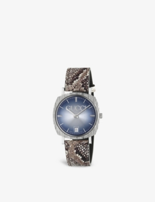 GUCCI YA152401 Gucci stainless steel and snake-embossed leather watch