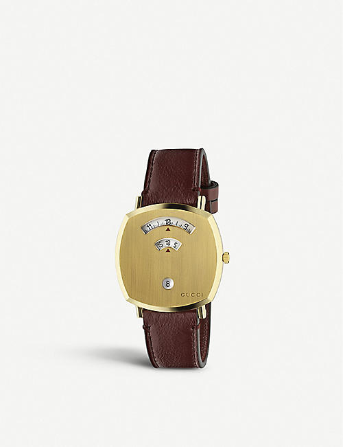 GUCCI YA157411 Grip yellow-gold PVD and leather quartz watch