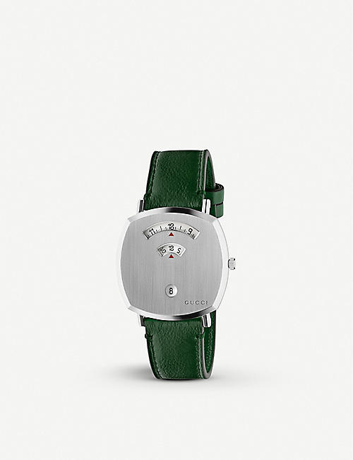 GUCCI: YA157412 Grip stainless steel and leather watch
