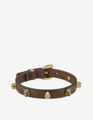 GUCCI Feline head studded leather bracelet