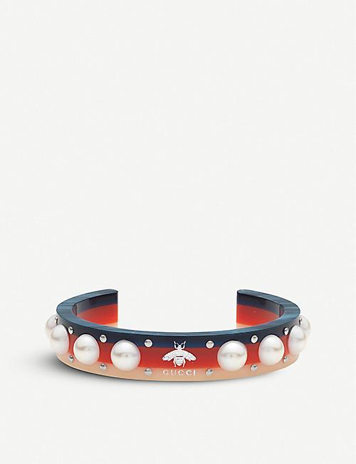 636734e6bf0 GUCCI Webbing crystal embellished cuff bracelet