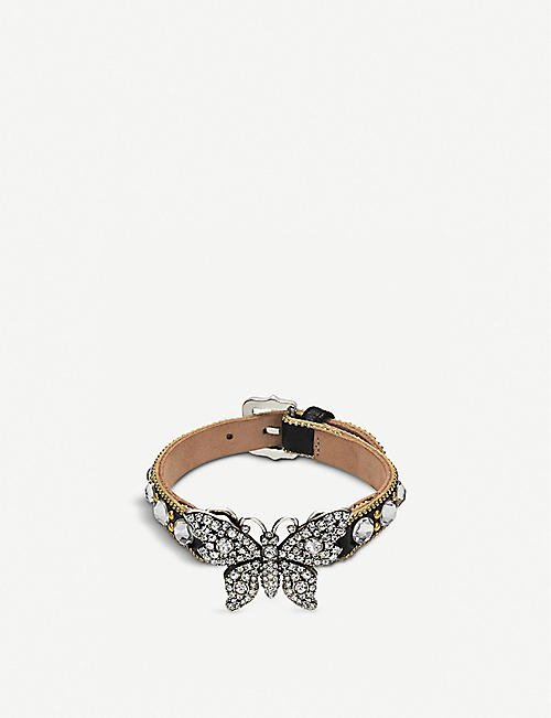 GUCCI: Butterfly crystal embellished and leather bracelet