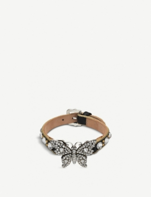 GUCCI Butterfly crystal embellished and leather bracelet