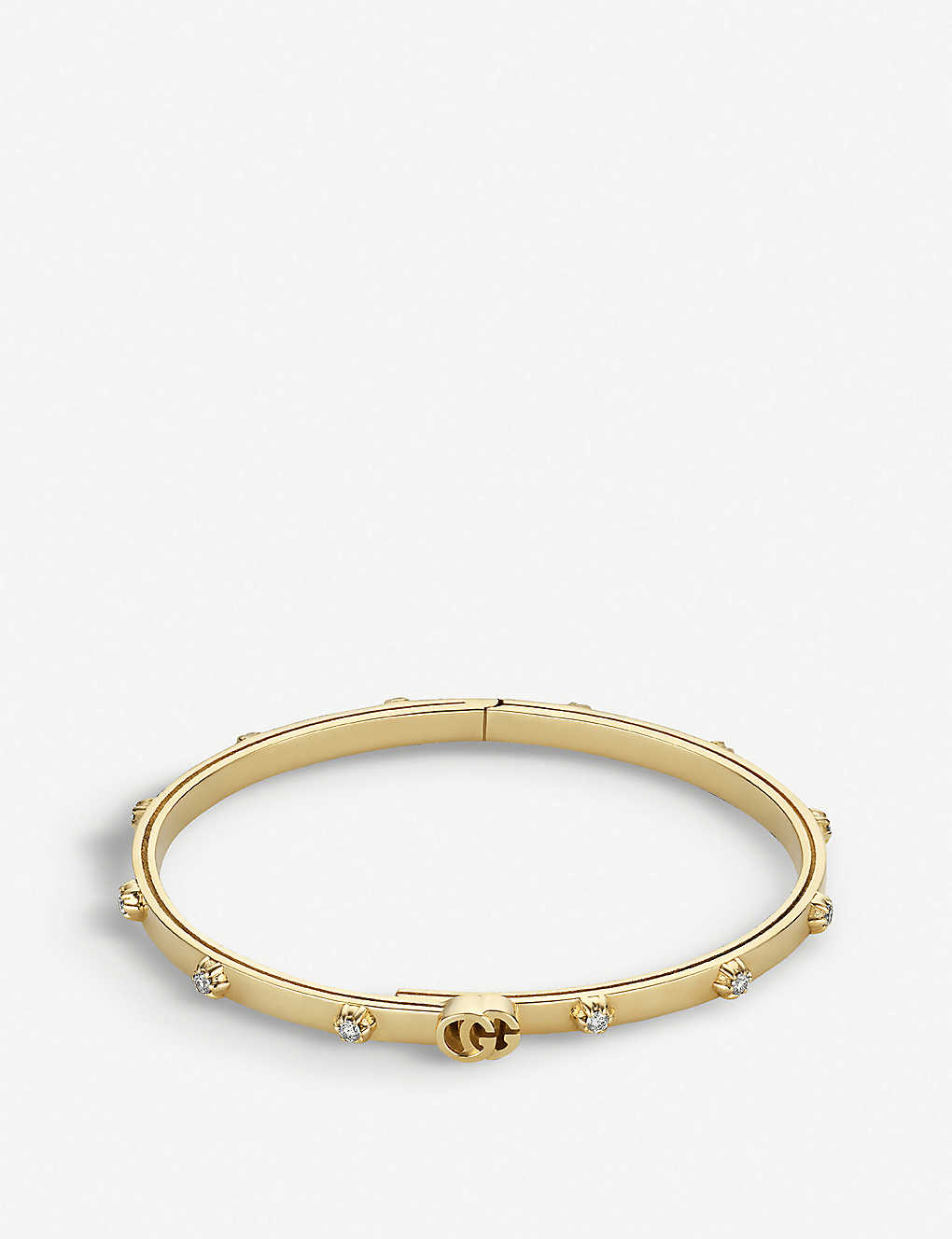 6f6333f3a GUCCI - GG Running 18ct yellow-gold and white diamond bracelet ...