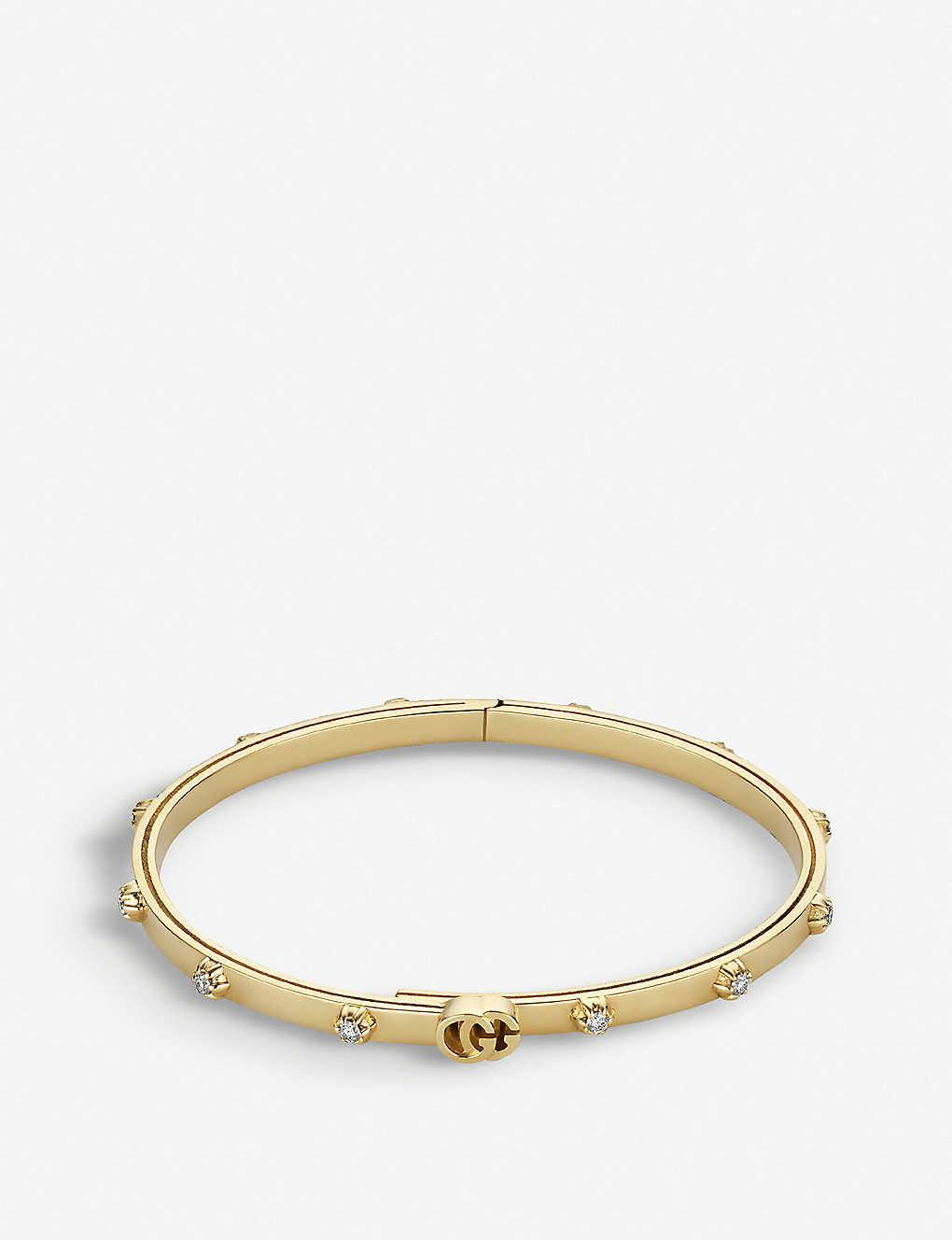 9b0454880 GUCCI - GG Running 18ct yellow-gold and white diamond bracelet ...