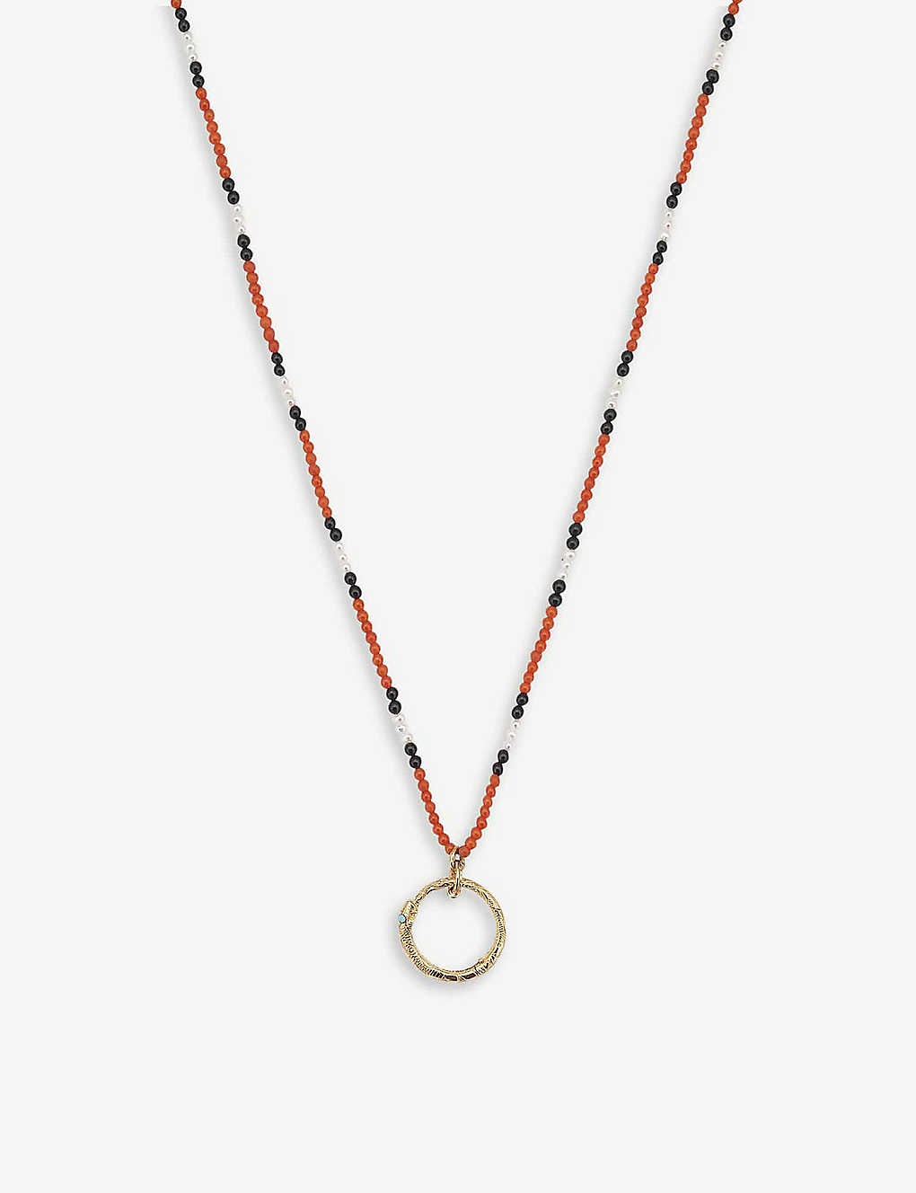 af19a8a40 Ouroboros 18ct yellow-gold, red coral, pearl and onyx necklace - Yellow gold  ...