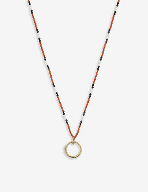 GUCCI Ouroboros 18ct yellow-gold, red coral, pearl and onyx necklace