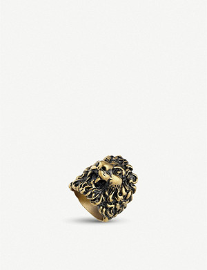 GUCCI Lion head aged metal ring