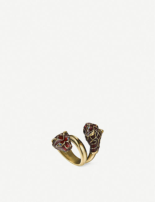 GUCCI Tiger enamelled and Swarovski crystal-embellished wraparound metal ring