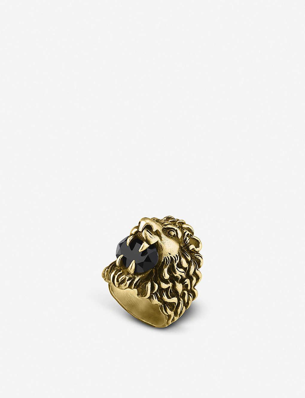 1819fa7a3 GUCCI - Lion head aged metal ring | Selfridges.com