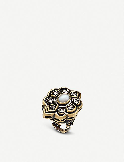 GUCCI Metal, bead and crystal ring