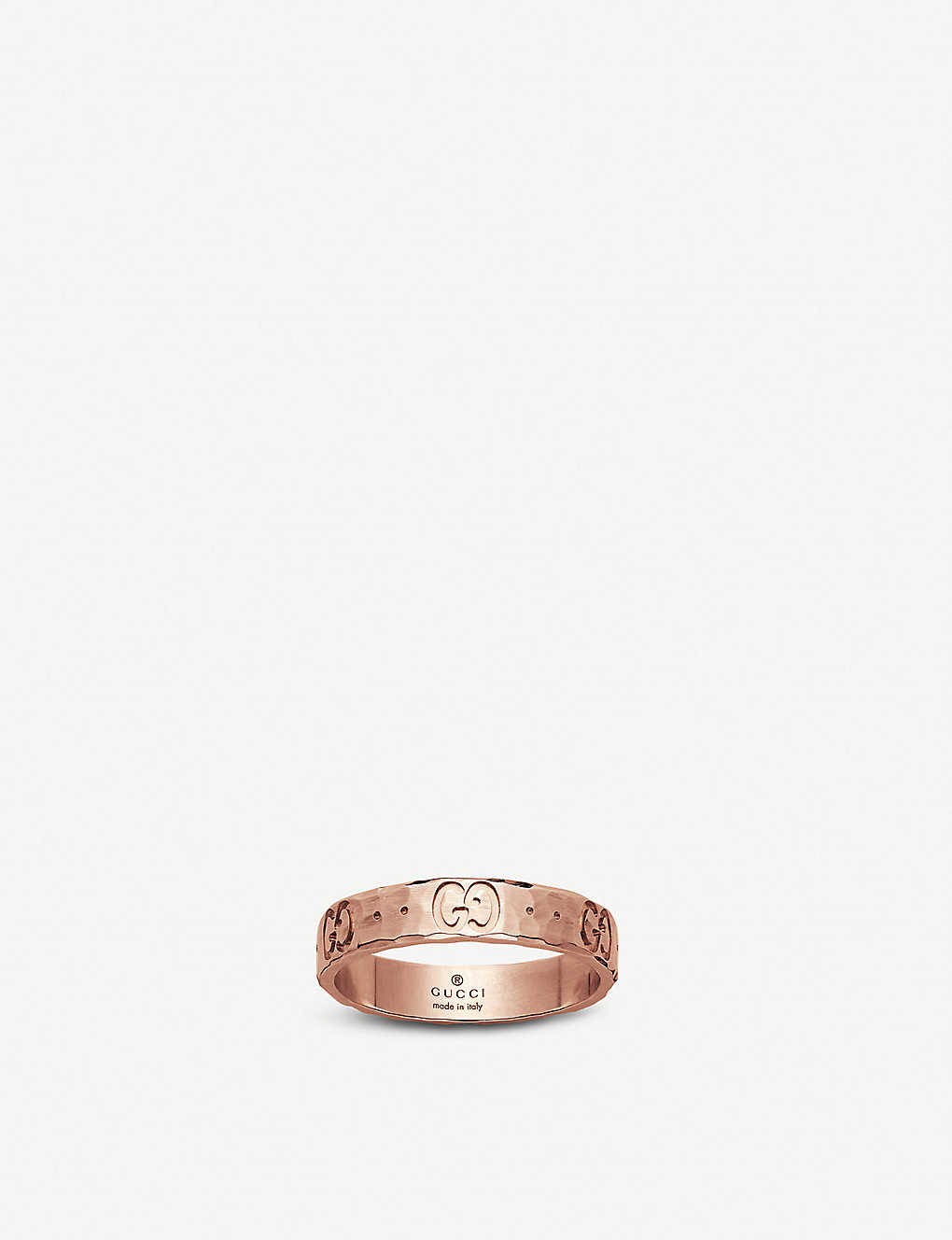 415069513 GUCCI - Icon hammered 18ct rose gold ring | Selfridges.com
