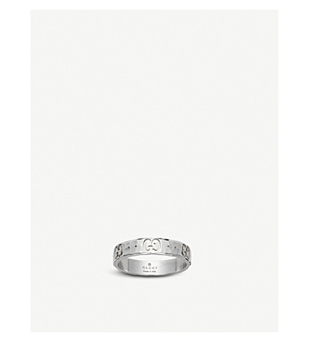 GUCCI Icon hammered 18ct white gold ring