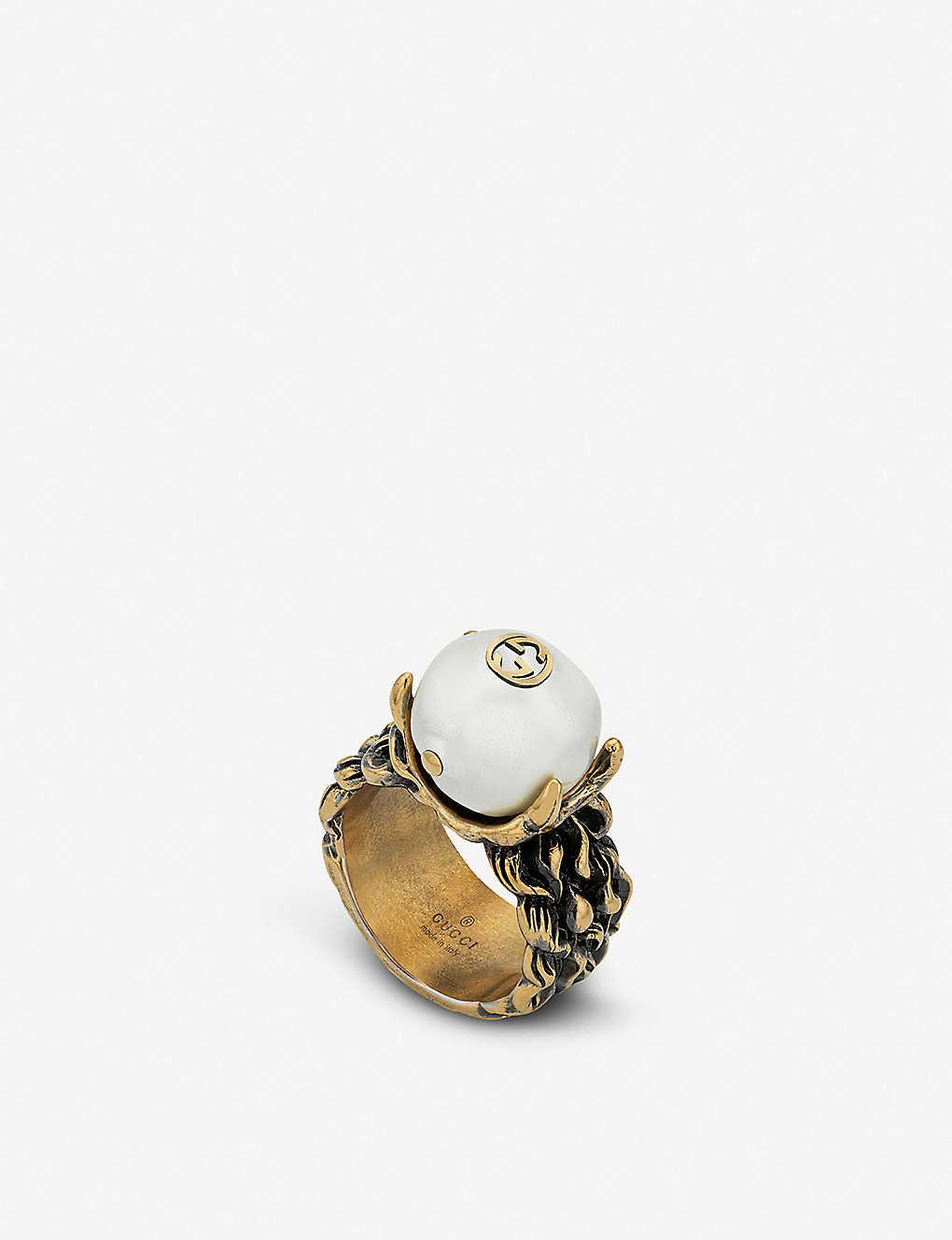 30b5aa20f GUCCI - Textured antiqued metal and glass bead ring | Selfridges.com
