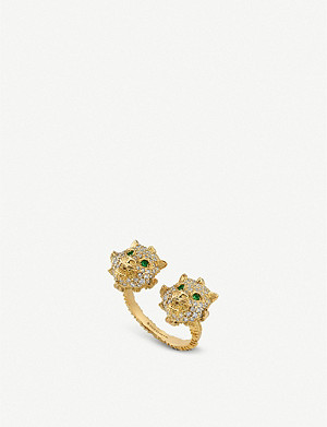 GUCCI Le Marché des Merveilles 18ct yellow-gold, tsavorite and diamond ring