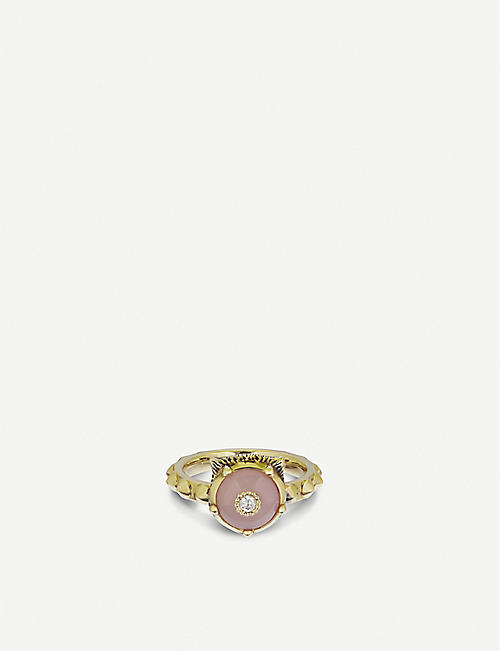 GUCCI Le Marché des Merveilles 18ct yellow-gold, pink opal and diamond ring