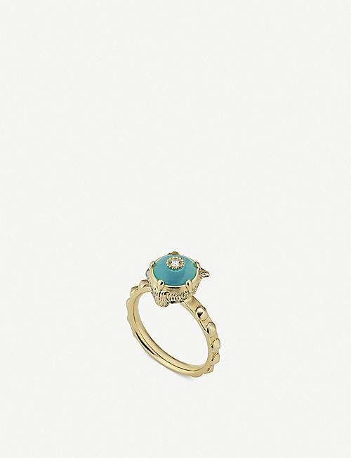 GUCCI Le Marché des Merveilles 18ct yellow-gold, turquoise and diamond ring