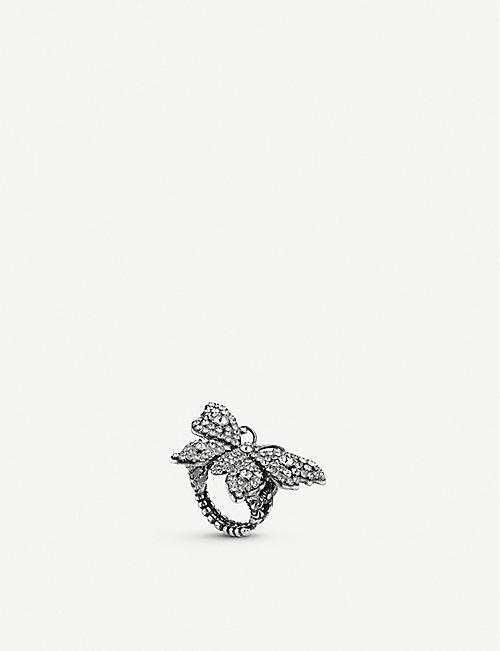 GUCCI: Butterfly crystal embellished ring
