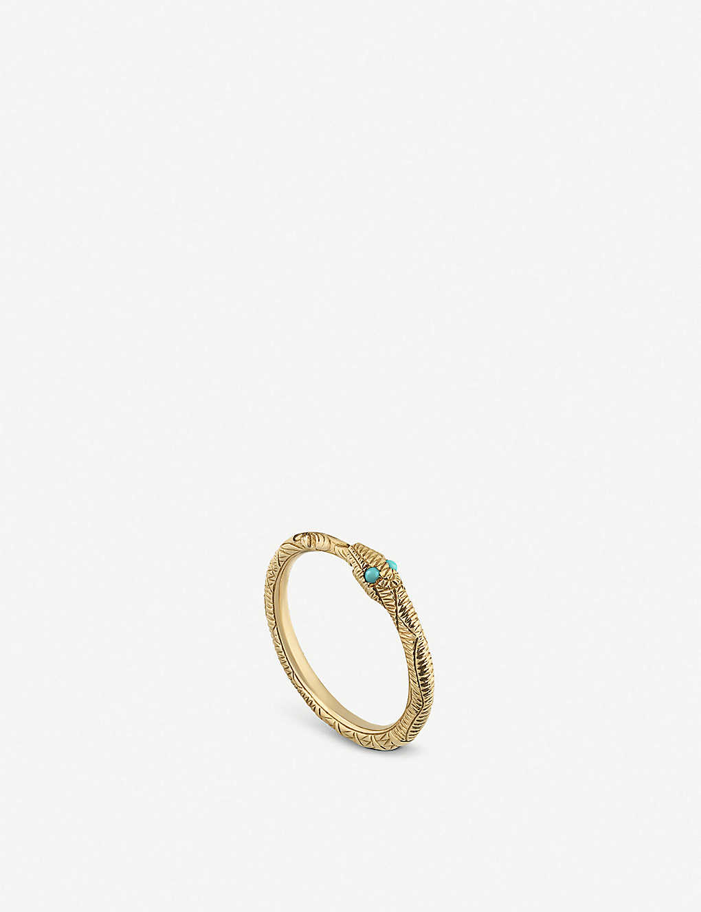 ef6f3512d GUCCI - Ouroboros 18ct yellow-gold and turquoise ring | Selfridges.com