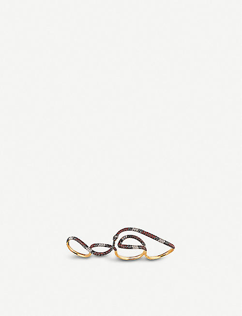 GUCCI Ouroboros 18ct yellow-gold, sapphire, topaz and diamonds ring