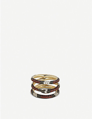 GUCCI: Ouroboros 18ct yellow-gold, red topaz and diamond ring