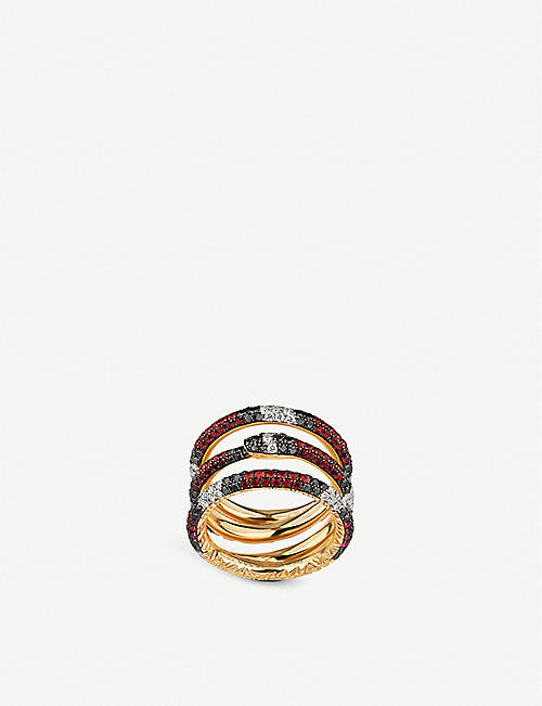 GUCCI Ouroboros 18ct yellow-gold, red topaz and diamond ring