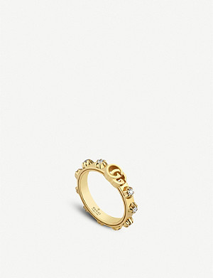 GUCCI GG Running 18ct yellow-gold and white diamond ring